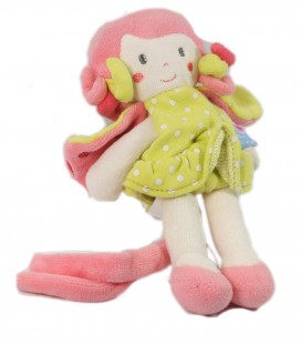 Doudou Fille rose vert attache tétine Sucre d'Orge