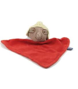 Doudou plat triangle souris taupe rouge Sucre d'Orge