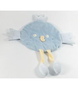 Doudou plat oiseau bleu Sucre d'Orge