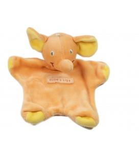 Doudou plat éléphant orange Sucre d'Orge