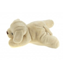 Doudou chien beige clair allonge Carrefour Max et Sax 20 cm