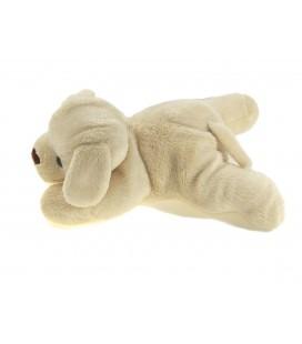 Doudou chien beige clair blanc creme allonge Carrefour Max & Sax 20 cm