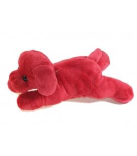 Doudou chien rouge bordeaux allongé Carrefour Max & Sax 20 cm