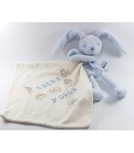 Doudou Lapin bleu Mouchoir blanc Sucre d'Orge