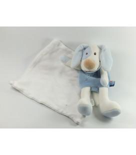 Doudou chien bleu Cajou Mouchoir blanc Sucre d Orge