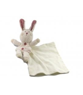 Doudou Lapin blanc rouge Mouchoir Cajou - SUCRE D'ORGE