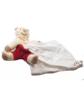 Doudou Ours beige rouge Mouchoir Sucre d'Orge