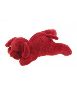 Doudou chien rouge bordeaux allongé clochette Carrefour Max & Sax 20 cm