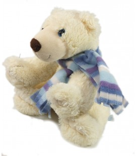 Peluche Doudou Ours polaire blanc Echarpe assis 25 cm Gipsy
