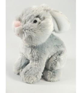Peluche Doudou Lapin gris blanc nez rose assis 26 cm Gipsy