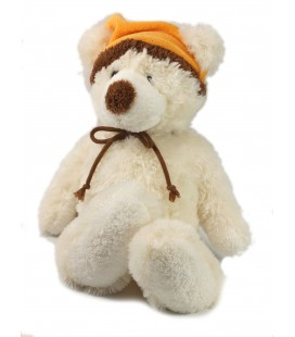 Peluche Doudou Ours blanc bonnet orange 38 cm Gipsy