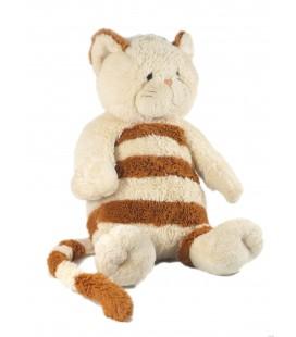 Doudou peluche Chat blanc marron roux rayures 40 cm