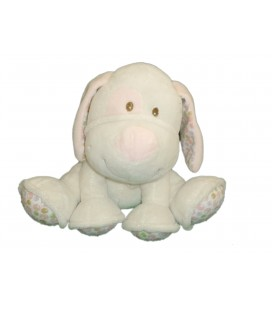 Doudou peluche CHIEN blanc rose GIPSY Grelot Hochet Plush Collections H 16 cm