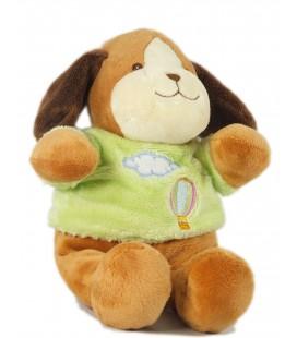 Doudou peluche chien marron pull vert montgolfière 24 cm Gipsy