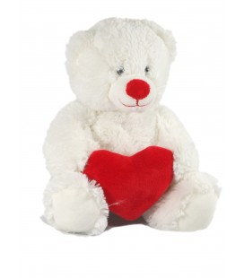 Doudou peluche Ours blanc Coeur rouge 28 cm Gipsy