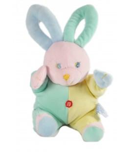 Doudou lapin bleu jaune rose 24 cm Gipsy