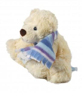 Doudou peluche Ours blanc Echarpe bleue 15 cm Gipsy