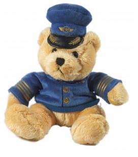 Doudou peluche ours Pilote d'avion commandant de Bord 25 cm Gipsy