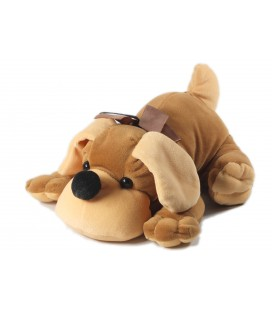 Doudou peluche Chien marron allongé 26 cm Gipsy