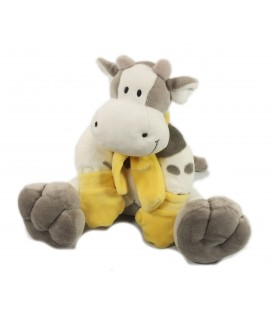 Doudou peluche Vache gris blanc echarpe jaune The Plushies collection Lombook 35 cm