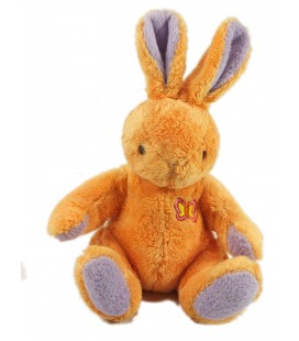 Peluche Doudou Lapin orange mauve assis 20 cm Anna Club Plush