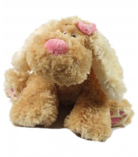 Doudou peluche chien beige rose Anna Club Plush 23 cm