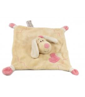 Doudou plat chien beige rose coeur Anna Club Plush