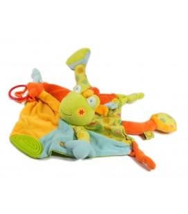 BABY SUN Doudou d'activité plat Grenouille vert orange bleu Babysun Grelot