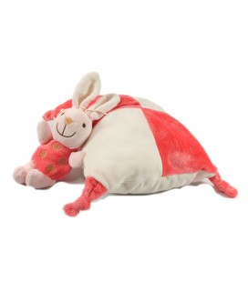 Peluche doudou Coussin Lapin rose blanc grelot Playkids