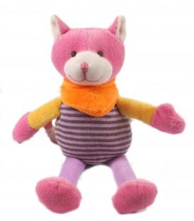 Peluche doudou chat rose violet mauve 28 cm Playkids