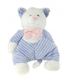 Doudou peluche chat rayures blanc bleu 30 cm Althans club