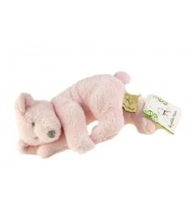 Peluche doudou Ours rose allongé 20 cm Les Petites Marie NEUF ETiq.