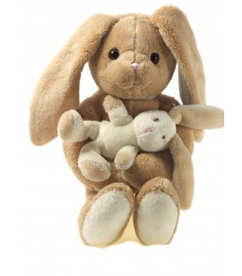 Peluche doudou Lapin beige et son bébé blanc Ajéna 30 cm