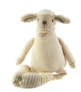 Peluche doudou Mouton beige 22 cm assis, 40 cm au total Les Petites Marie Raynaud