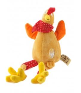 Peluche doudou poule orange 16 cm assis, 30 cm Oeuf Coque Foulard rouge Les Petites Marie Raynaud