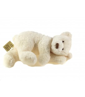 Peluche doudou Ours blanc allongé 20 cm Les Petites Marie