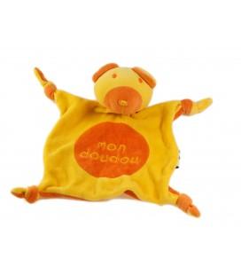 Doudou plat Ours jaune orange Mon doudou Grelot Les Petites Marie Raynaud