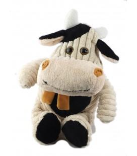 Peluche doudou Vache 32 cm blanc noir Echarpe marron Les Petites Marie