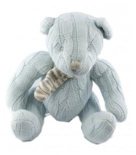 Doudou peluche Ours bleu 25 cm Tricot laine Les Petites Marie