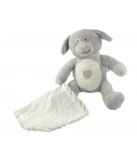 Doudou Chien gris mouchoir blanc coeur 16 cm Obaibi