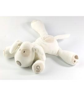 Doudou chien blanc allongé 16 cm Obaibi
