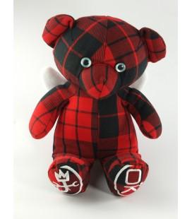 Doudou ours rouge carreaux noirs Okaidi Obaibi 30 cm JC de Castelbajac Ailes
