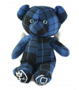Doudou ours bleu carreaux noirs Okaidi Obaibi 30 cm JC de Castelbajac Ailes