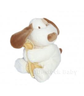 KIMBALOO Doudou peluche CHIEN blanc écru crème marron couverture mouchoir jaune