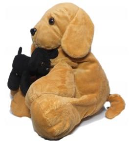 Grande peluche Chien beige et son bébé chien noir Ajena assis 45 cm