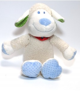 Doudou Mouton blanc bleu TEX Baby Carrefour Bandana foulard rouge pois 28 cm