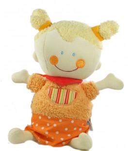 Doudou Peluche musicale Poupée fille Orange Babysun 28 cm