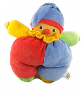 Doudou Lutin clown bleu rouge Babysun 32 cm Grelot