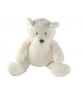 Doudou peluche Ours blanc assis 17 cm Obaibi