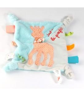 VULLI Doudou plat bleu Sophie la Girafe etiquettes en tissu 4 noeuds